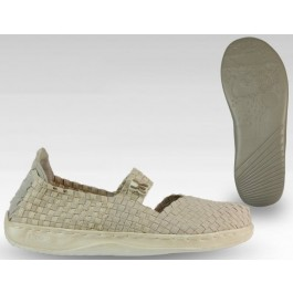 Hey Dude Womens E-Last Mary Jane Woven Shoes - Beige Glitter