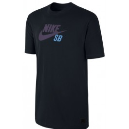 Nike Mens SB QT Icon Logo Tee - Black/Black/Dark Raisin