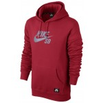 Nike Mens SB Pullover Reflective Icon Hoodie - Gym Red/Reflect Silver